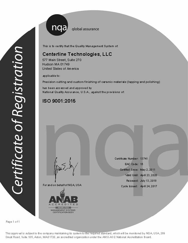 Centerline_ISO_14-17_Certificate